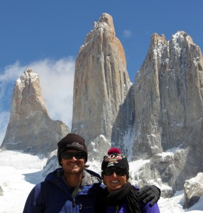 Kristien & I below the Torres del Paine after getting a clear day to view these magnificient towers on our 2nd day hiking up to them (the first day was socked in with snow and fog - typical Patagonia weather)