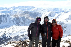 Kristine, J, & Mikey on the summit of Homestake Peak (13,209')