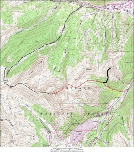 Map of the Copper Creek drainage route (red) up to Jacque Peak. We actually took the alternative yellow route just to the south of Copper Creek to avoid being in the ditch of teh creek itself. Also, my route up Copper Mountain is shown in black