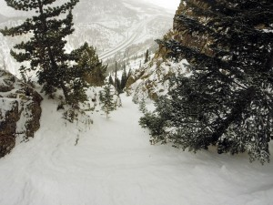 The remaining portion of the steep chute after the very narrow section. Photo by Ben