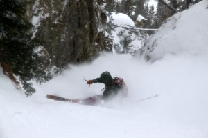 Brian slashing and spraying his way down the narrow chute
