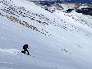 Me skiing the southeast gully. Photo by Ben