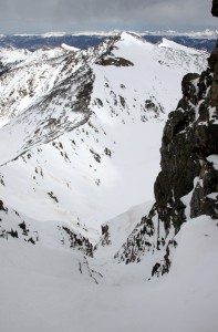 Looking down Pacific's north couloir to Crystal Peak