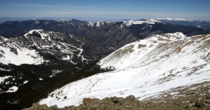 View down Wheeler's west face to the ski runs of Taos Ski Valley below