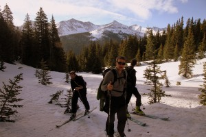 Left to right: Jake, Zac, & Shawn skinning up the Copper Creek drainage with Pacific Peak and the Tenmile Range behind