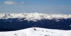 The 13er Homestake Peak, which we skied in late January, dead center in the picture as seen from Jacque's summit