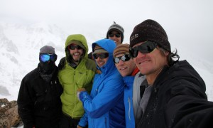 The six of us on Rain Peak's true northern summit (13,130'). Marc (far left) looks like a ninja
