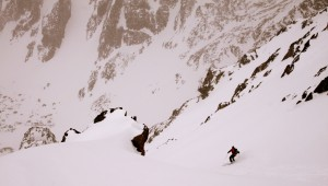 J skiing The Graupel Gully