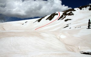 Our line shown in red down the gully to the western Uneva bowl