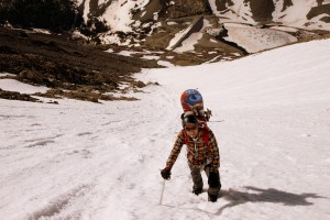 Mikey climbing the Cristo in his new crampon compatible snowboard boots