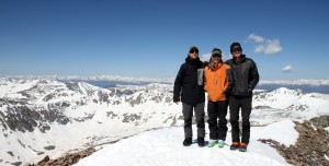 Mikey, J, and I on the summit of Quandary enjoying the nice morning