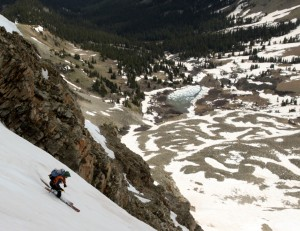 J lower down in the couloir