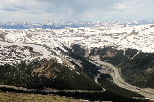 Eisenhower Tunnel and Interstate 70 from Sniktau's summit