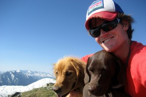 A younger me, Rainier, & Kona on Buffalo Mountain's summit (12,777')