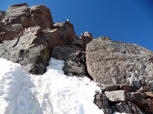 The crux section of the summit pitch