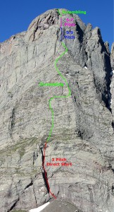 "Ellingwood Arete with the ""direct start"" variation"