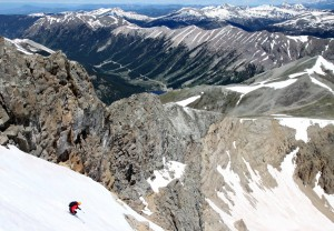 Derek skiing a great late spring/early summer ski line