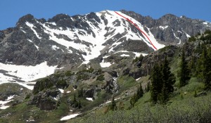 The top 3/4 of Grizzly Peak A's north couloir shown in red as seen on the hike out the Grizzly Creek trail