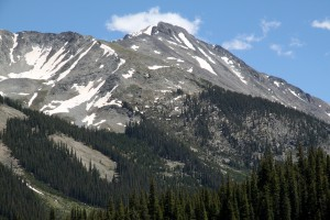 Grizzly Peak and the top of its north couloir as seen from Lincoln Creek Road