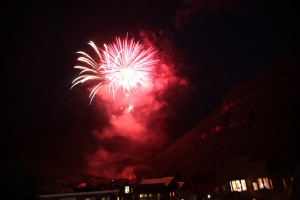Telluride fireworks lighting up the box canyon