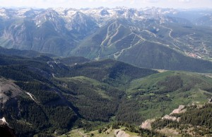 Telluride ski area and surrounding Bear Creek Canyon peaks from the summit of Dallas Peak