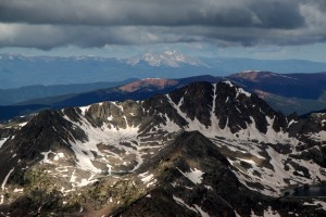 Point 13,126' and its cool looking north couloir with Mt. Sopris in the distance