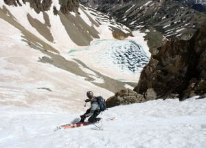 Me skiing the lower portion of the north couloir