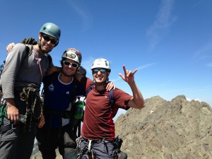 J, myself, & Steve on the Needle's summit with Crestone Peak in the distance