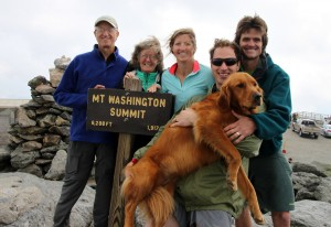 The whole crew on the summit of Mt. Washington, NH (6,288') minus Lizzie, who was with us in spirit. At least she made the 1:30pm Cog down the mountain