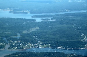 The Oelbergers home is on the peninsula just above picture center. The town of Tenant's Harbor is bottom center. Picture taken from the Cape Air flight back to Boston