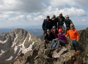 Peak Q summit (13,230'). Is this a record for number of folks on Q's summit at one time?