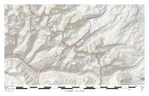 Blue is our ascent from the North Rock Creek TH up Asgard Ridge and red is our descent to East Vail