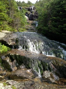 Beautiful waterfalls coming down the Ammonoosuc Ravine Trail