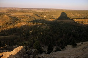 Devil's Tower's morning shadow on the landscape