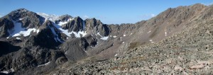 The traverse from Eagle's Nest (far right) to Mt. Powell (far left) as seen from the east ridge of Eagle's Nest.