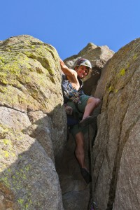 Me enjoying the lead of the Chockstone Crack