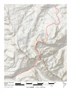 The Gore Range Traverse from Eagle's Nest to Mt. Powell shown in red