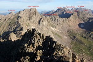 View northwest of Rockinghorse Ridge and all of our favorite peaks from the summit of east Partner Peak (13,057') in July of 2012 before one of my Partner Traverse trips