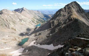 Upper Slate Lake basin as seen from the summit of Peak P including the four tiers of lakes, Peak Q on the right, and Peal L in the distance on the left