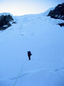 J with the Tahoma Glacier headwall behind (2,300' of crevassed 50 degree snow)