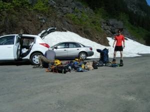 Me & J packing up at 2,800' on the Westside Road in Rainier National Park (11,600' to go!)