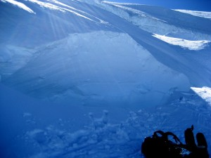A pic of the aftermath of the snow bridge and crevasse wall collapse