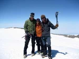 Baba, J, and me on Rainier's summit after climbing the Tahoma Glacier