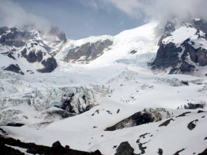 Here is a look up the lower part of the Tahoma Glacier and the 2,300' Tahoma Glacier headwall from camp 1 at 6,000'