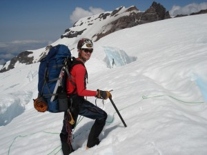 Me negotiating one of the numerous crevasses and snow bridges