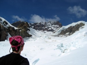 Me looking up at the Sunset Amphitheatre with the Tahoma Glacier headwall out of view to the right