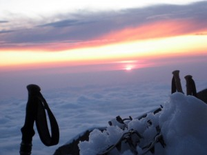 Sunset from my tent at 10,000' on the Tahoma Glacier