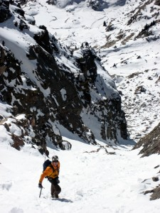 Me plunge-stepping my way down the southwest couloir