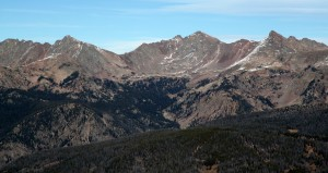 (Left to right): The Grand Traverse, Palomino Point, Mt. Valhalla, and Snow Peak