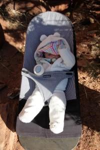 Sawyer hangin' again at our local Milk Creek crag